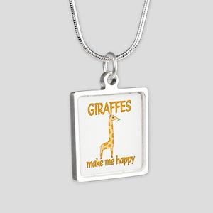 Giraffe Happy Silver Square Necklace