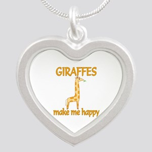 Giraffe Happy Silver Heart Necklace