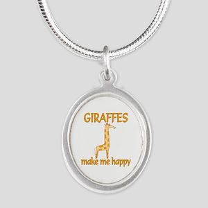 Giraffe Happy Silver Oval Necklace