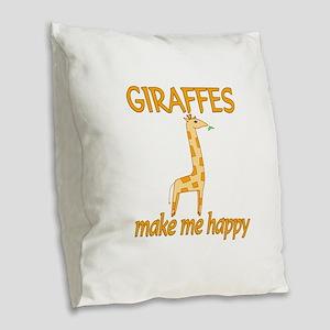 Giraffe Happy Burlap Throw Pillow