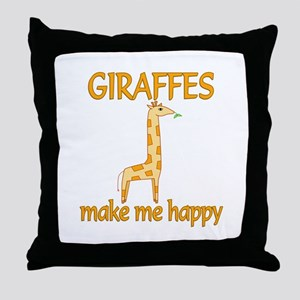 Giraffe Happy Throw Pillow