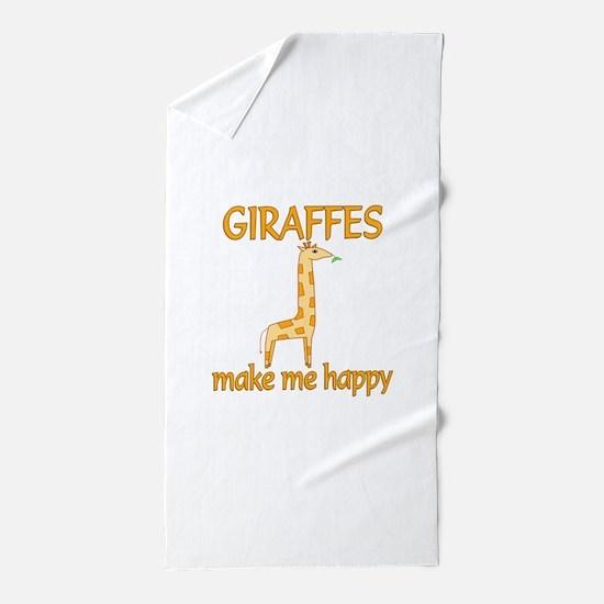 Giraffe Happy Beach Towel