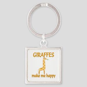Giraffe Happy Square Keychain