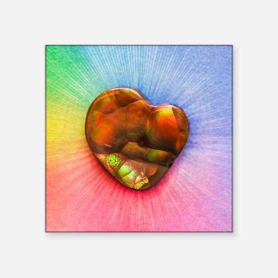 "Rainbow Fire Agate Square Sticker 3"" x 3"""