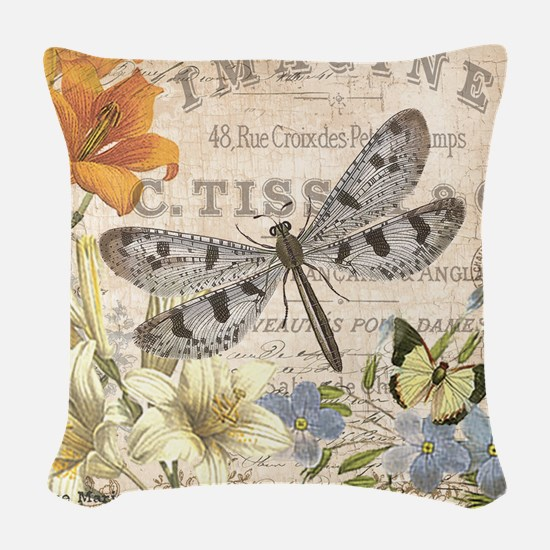 modern vintage French dragonfly Woven Throw Pillow