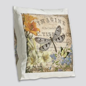 modern vintage French dragonfly Burlap Throw Pillo