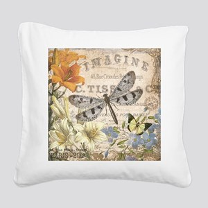modern vintage French dragonfly Square Canvas Pill