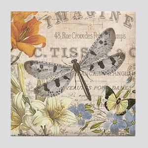 modern vintage French dragonfly Tile Coaster