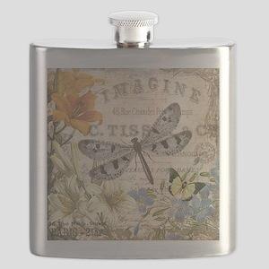 modern vintage French dragonfly Flask