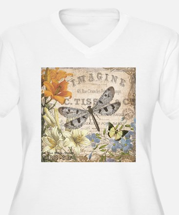 modern vintage French dragonfly Plus Size T-Shirt