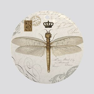 modern vintage French dragonfly Ornament (Round)