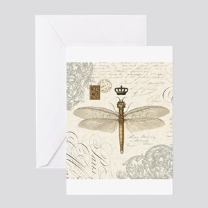 modern vintage French dragonfly Greeting Cards