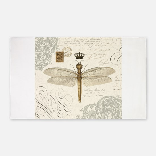 Modern Vintage French Dragonfly 3 X5 Area Rug