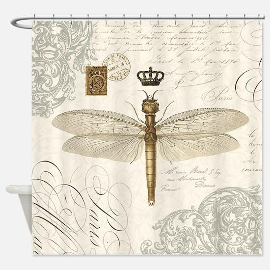 Interesting Dragon Fly Shower Curtain. modern vintage French dragonfly Shower Curtain Dragonfly Curtains  CafePress