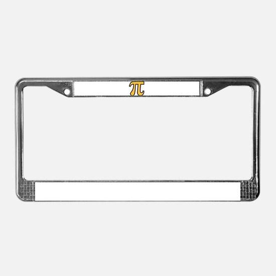 Yellow Pi symbol License Plate Frame