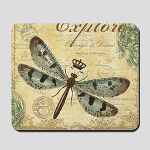 modern vintage French dragonfly Mousepad