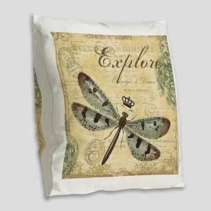 modern vintage French dragonfly Burlap Throw Pillo
