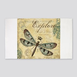 modern vintage French dragonfly 3'x5' Area Rug