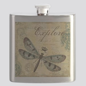 modern vintage French dragonfly Flask