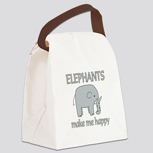 Elephant Happy Canvas Lunch Bag