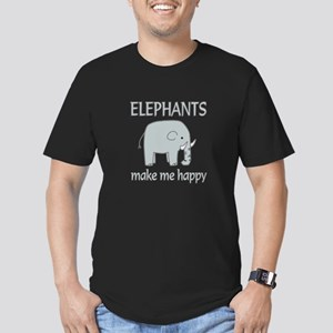 Elephant Happy Men's Fitted T-Shirt (dark)