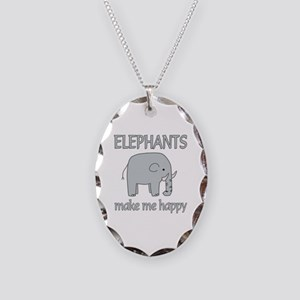 Elephant Happy Necklace Oval Charm