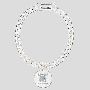 Elephant Happy Charm Bracelet, One Charm