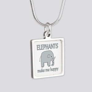 Elephant Happy Silver Square Necklace
