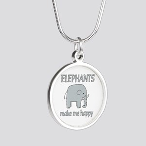 Elephant Happy Silver Round Necklace
