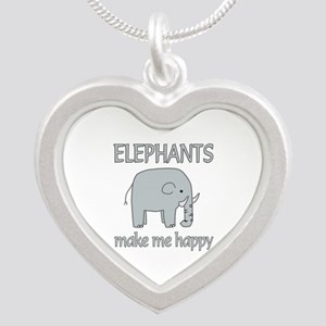 Elephant Happy Silver Heart Necklace