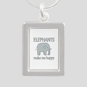 Elephant Happy Silver Portrait Necklace