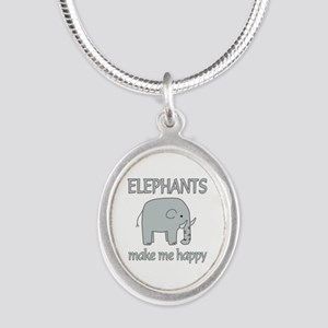 Elephant Happy Silver Oval Necklace
