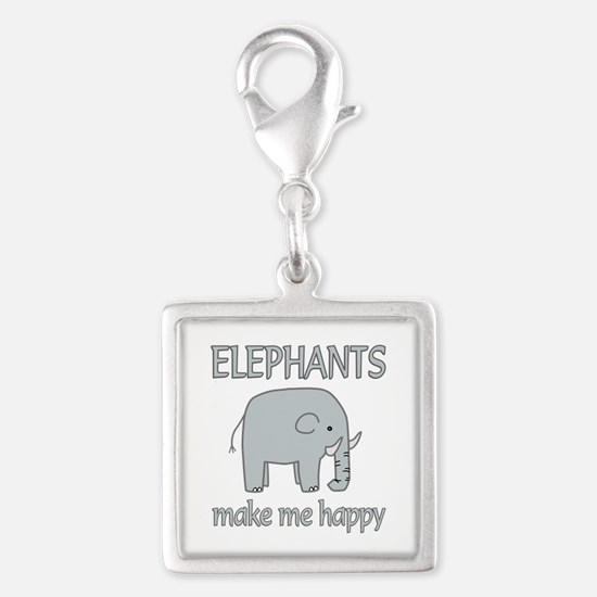 Elephant Happy Silver Square Charm