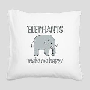 Elephant Happy Square Canvas Pillow