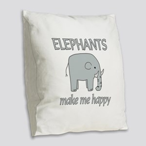 Elephant Happy Burlap Throw Pillow