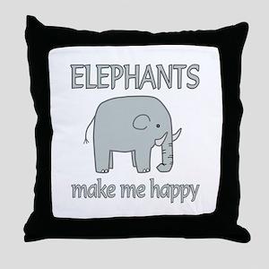 Elephant Happy Throw Pillow