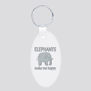 Elephant Happy Aluminum Oval Keychain