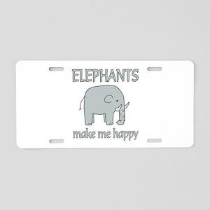 Elephant Happy Aluminum License Plate