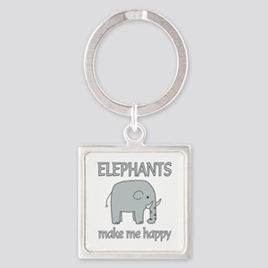 Elephant Happy Square Keychain