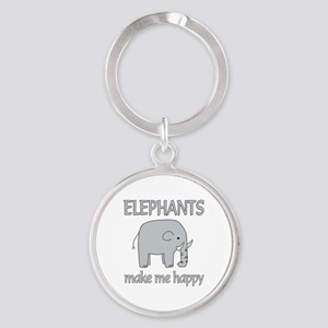 Elephant Happy Round Keychain