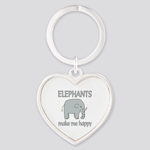 Elephant Happy Heart Keychain