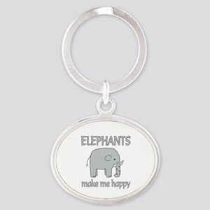 Elephant Happy Oval Keychain