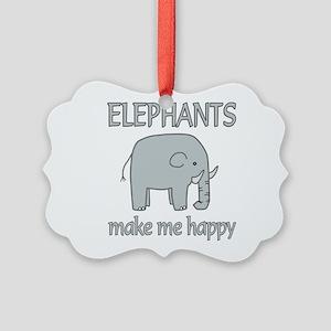 Elephant Happy Picture Ornament
