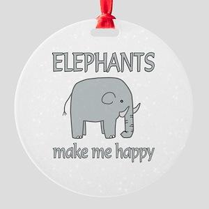 Elephant Happy Round Ornament