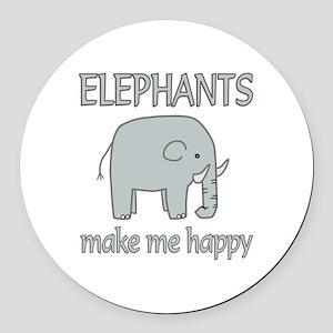 Elephant Happy Round Car Magnet