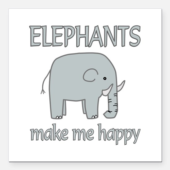 "Elephant Happy Square Car Magnet 3"" x 3"""