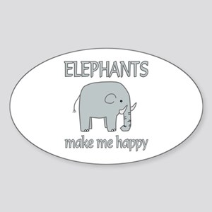 Elephant Happy Sticker (Oval)