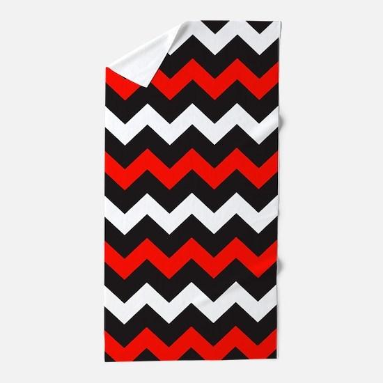 Black Red And White Chevron Beach Towel