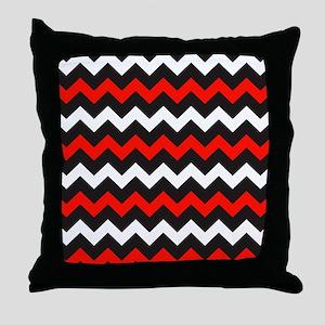 Black Red And White Chevron Throw Pillow