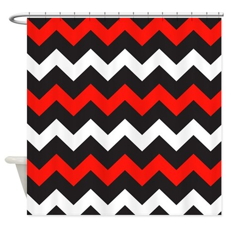 Black Red And White Chevron Shower Curtain